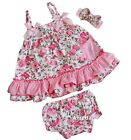 Baby 2 Piece Light Pink Rose Swing Top Bloomer Set & Headband Outfit