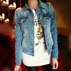 NEW Women's Cotton Blue Jeans Denim Jacket Long Sleeve Fashion Coat Outerwear
