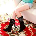 Womens Fashion Low Heel Knee High Boots Increase Bowknot Shoes AU Size TB5291