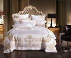 10pc. 100% Cotton Luxury Hotel Embroidered Queen King Duvet Cover Bedding Set