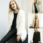 Woman's Shaggy Hairy Faux Fur Long Jacket Coat Long Sleeve Fur Brand New