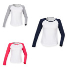 Women's SF Comfortable Crew Neck Raglan Long Sleeve Baseball T-Shirt Size 8-16