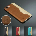 Luxury Canvas Leather Back Case Wallet Credit Card Slot For iPhone 7 7 Plus