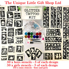 GLITTER TATTOO KIT boy girl 205 stencil 12 glitter storage box PERSONALISED FREE