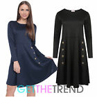 Womens Button Front Detail Skater Dress Ladies Celeb Inspired Long Sleeve Dress