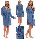 Ladies Loungewear Housecoat Dressing Gown Viscose Cardigan Blue Brushed Robe
