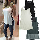 Womens Ladies Summer Vest Top Sleeveless Blouse Casual Hollow Tank Tops T-Shirt