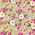 Summer blooms lime colour fabric per 1/2 metre/fat quarter 100 % cotton