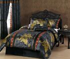 Chezmoi Collection 7pc Palace Dragon Black/Gold/Red Comforter Set or Curtain Set