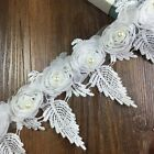 New Lace Trims Rose Flowers Tulle Bead Trimmings Dress Sewing Applique 3 Yards