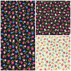 Mini Tulips black, navy or cream 100% cotton fabric per 1/2 Metre / FQ