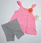 NWT: New Carter's Hot Pink Shirt & Gray Shorts Outfit, 6 or 9 Months, Rtls $22