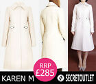 Karen Millen New Cream Winter Fitted Elegant Trench Coat RRP 285 8-18