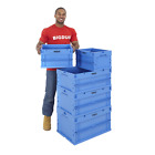 Euro Containers Stacking Plastic Storage Boxes Crates Folding Blue Various Sizes