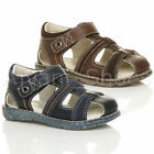 BOYS FLAT HOOK & LOOP CONTRAST SUMMER GLADIATOR FISHERMAN SANDALS SIZE