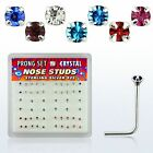 Nose Bone L shape TINY 1.4mm Crystal .925 Sterling Silver Bolt Stud Prong Style*