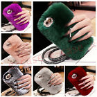 New Ring Rabbit Fur Tassel Ball Rotat Stand Furry Crown Crystal Strap Case Cover