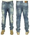 MENS NEW ETO LATEST TAPERED FIT RIPPED STRETCH JEANS IN MID STONE WASH COLOUR