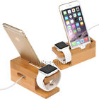 3in1 Bamboo Charge Dock Stand Holder For Apple Watch iPhone 7 Plus i Pad Air 2