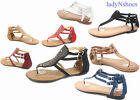 NEW Women's Summer Flat Thong Ankle Strap Gladiator Sandal Shoes Size 6 - 10