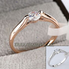 Fashion Solitaire Engagement Wedding Ring 18KGP Rhinestone Crystal Size 5.5-9