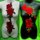 2 Rose Flower Floral Collar Sew Patch Cute Applique Badge Embroidered Bust Dress