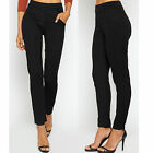 NEW WOMENS LADIES ELASTICATED STRETCH SKINNY POCKET SLIM CIGARETTE TROUSERS