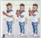 Outfits & Sets! 3PCS NEW Baby Boys White T-shirt + Jeans + Scarf Clothes 2-8Y