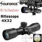 Compact 4X32 Mil Dot/Rangfinder Optic RifleScope Sight 20mm Rail Mount for Rifle