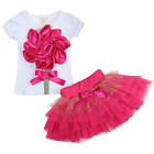 2Pcs Kids Baby Girls Clothing T-Shirt + Skirt Set Summer Tutu Dress Outfits 1-5Y