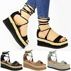 Womens Ladies Flat Espadrille Lace Up Sandals Wedge Platform Summer Shoes Size