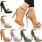 Womens Ladies High Heel Barely There Sandals Strappy Stiletto Party Shoes Size