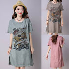 Fashion Women Summer Short Sleeve Casual Blouse Loose Cotton Tops T Shirt Dress