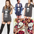 Womens Short Sleeve Skull Print T-Shirt Ladies Casual Loose Tops Blouse Dress