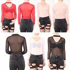 New Womens Ladies Choker Neck Long Sleeve Stretch Net Bodysuit Tops Leotard 8-14