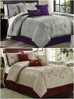 Chezmoi Collection 7pc Cherry Blossoms Floral Embroidery Comforter Set image