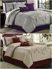 Chezmoi Collection Luxury 7p Red Cherry Blossoms Floral Embroidery Comforter Set