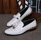 Men's Leather Business Shoes White Rhinestone Studs Loafers Dress Casual Shoes