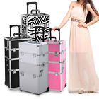 Pro 3 in1 Aluminum Beauty Train Cosmetic Makeup Lockable Case Trolley on Wheels