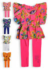 Girls Floral Outfit New Kids Peplum Top And Legging 2 Piece Set Ages 2-10 Years