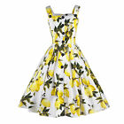Women Summer Floral Sleeveless V-Neck Party Cocktail Ballgown Button Mini Dress