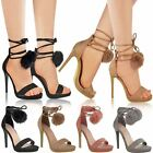 Womens Ladies Pom Pom High Heels Platform Sandals Lace Up Party Celeb Shoes Size