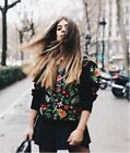 ZARA S/S17 BLOGGERS EMBROIDERED FLOWER PUFF SLEEVE SWEATER JUMPER 6895/058 S M L