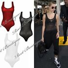 Ladies New Muscle Racer Back Sleeveless Plain Mesh Stretchy Leotard Top Bodysuit