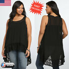 Plus Size Women's Chiffon Sleeveless Blouse Ladies Loose Vest Tank Tops T Shirt