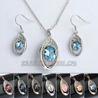 A1-S029 Fashion CZ Simulated Topza Earrings Necklace Jewelry Set 18KGP Crystal