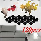 120Pcs DIY 3D Mirror Hexagon Vinyl Removable Wall Sticker Decal Home Decor Art A