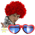 RED NOSE DAY DISCO 1960S 1970S RED WIG AND RED HEART JUMBO SUNGLASSES SET