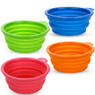 Pet Dogs Silicone Dish Feeding Bowls Collapsible Travel Water Food Feeder New