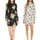 New Womens Long Sleeve Party Casual Herry Floral Mini Dress Shirt Dress Long Top